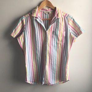 VINTAGE Sears rainbow stripe button down tee